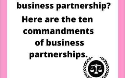 Ten commandments of business partnerships